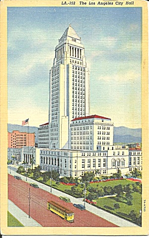 Los Angeles CA City Hall 1946 postcard p36040 (Image1)