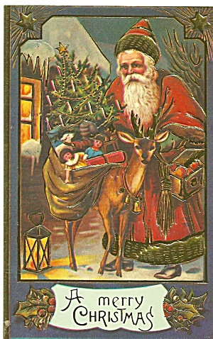 Vintage Christmas Card Reproduction Santa P36054