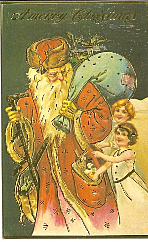 Vintage Christmas Card Reproduction Santa Kids P36056