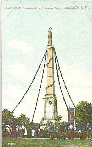 Pensacola Florida Monument Souvenir Post Card Co P36100