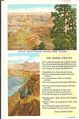 Words To Grand Canyon By Henry Felton Huse Postcard P36122