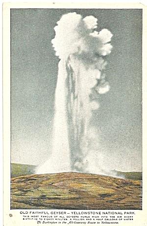 Yellowstone Park Old Faithful Burlington RR p36127 (Image1)