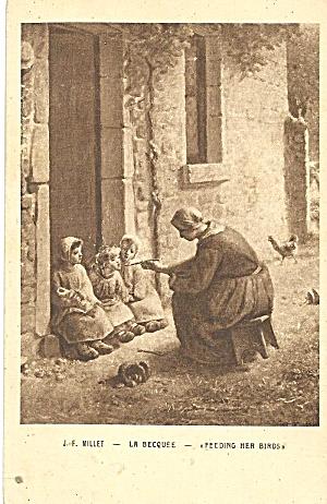 La Becquee Feeding Her Birds by J F Millet p36183 (Image1)