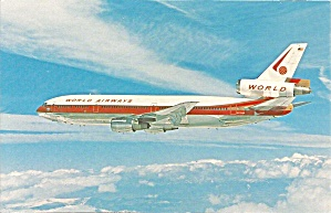 World Airways Dc-10-30cf N103wa Postcard P36200