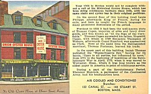Boston Ma Union Oyster House Since 1825 Postcard P36315