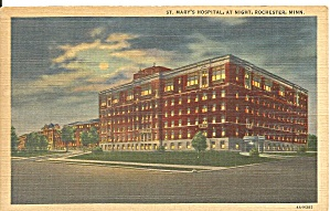 Rochester Mn St Mary S Hospital At Night Postcard P36318
