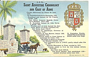 St Augustine FL Chronology Coat of Arms postcard p36324 (Image1)