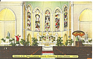 Columbia Sc Interior St Peter S Church Postcard P36351