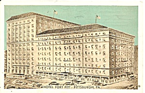 Pittsburgh PA Hotel Fort Pitt postcard p36353	 (Image1)