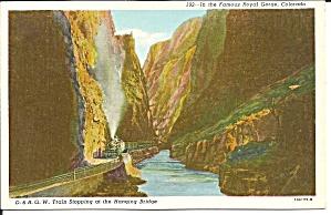 Royal Gorge CO D and R G W RR train at bridge p36355 (Image1)