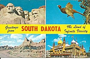 South Dakota Four Views postcard p36362 (Image1)