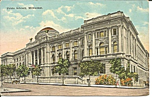 Milwaukee Wi Public Library 1920 Postcard P36383