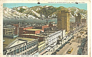 Salt Lake City Ut Main St 1924 Postcard P36387