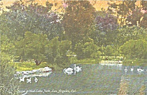 Los Angeles Ca West Lake Park Postcard P36409