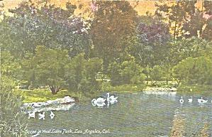 Los Angeles CA West Lake Park postcard p36409 (Image1)