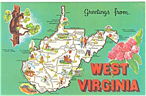 Map of West Virginia  Postcard p3643 (Image1)