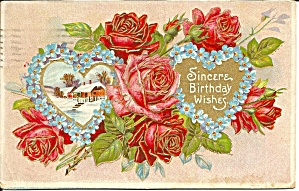Roses Winter Scene Birthday 1909 Postcard P36469