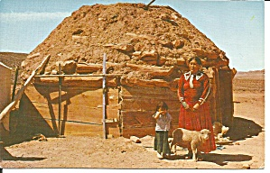 Land Of The Navajo Woman Child And Hogan P36478