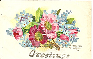 Flowers On A Greetings Vintage Postcard P36488