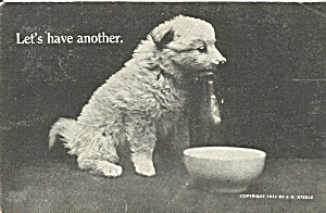 Cute Puppy At Water Bowl 1911 Postcard P36534