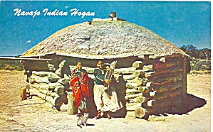Navajo Indians And Their Hogan Postcard P36537