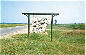 Arkansas Welcome Sign Postcard (Image1)