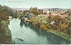 Fishing on the Soquel Creek CA postcard p36598 (Image1)