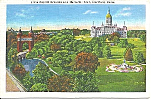 Hartford CT  State Capitol Grounds postcard p36608 (Image1)