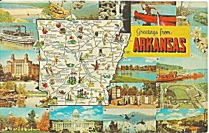 Arkansas State Map postcard p36645 (Image1)
