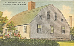 Plymouth Ma Harlow Old Fort House Postcard P36697