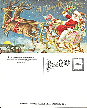 Santa In His Sleigh Soars Away Repro Postcard P36733