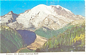 Sunrise Mt Rainier  Washington  Postcard (Image1)