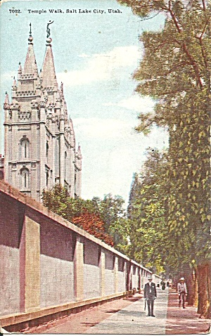 Salt Lake City Ut Temple Walk Postcard P36855 1911