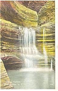 Curtain Cascade Watkins Glenn NY  Postcard p3703 (Image1)