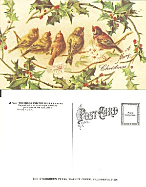 Birds Holly Leaves Repro Christmas Postcard P37059