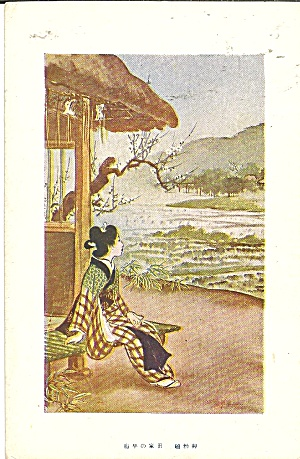 Japan Postcard Seated Woman In Native Dress P37069
