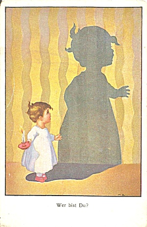 German Postcard Little Boy And Shadow P37082