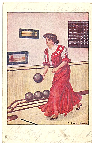 Victorian Woman Bowling P37100 1908