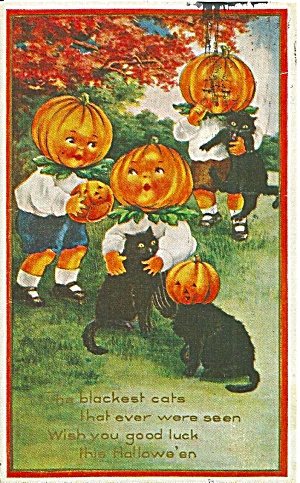Halloween Repro Postcard Black Cats P37118