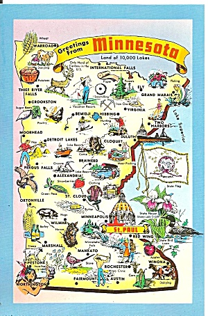 State Map Of Minnesota Postcard P37127