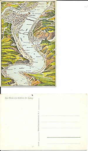 Rhine River Germany Map From Koblenz To Salzig P34438