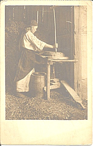 Woman With Butter Churn P37145
