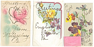 Greetings From Vintage Postcard Lot 3 Glitter p3727 (Image1)