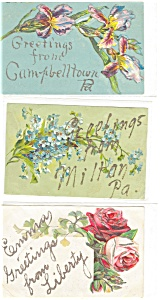 Greetings  Vintage Postcard Lot 5 Glitter (Image1)