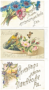 Greetings  Vintage Postcard Lot 6 Glitter p3729 (Image1)