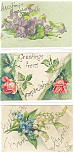 Greetings  Vintage Postcard Glitter Lot 6 (Image1)