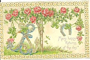 Floral Happy Returns Embossed Postcard p37338 (Image1)