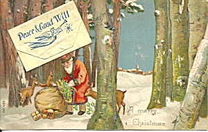 Santa Claus Novelty Envelope Postcard p37362 1907 (Image1)