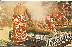 Hawaiian Luau Roasted Pig Postcard p37642 (Image1)