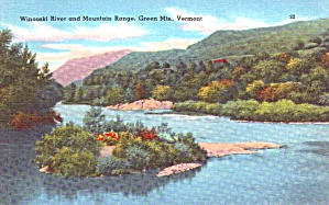 Green Mountains Vt Winooski River Postcard P37920